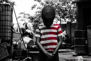 sad black child